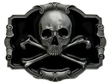 Skull And Crossbones Belt Buckle Comes In a Gift Box + Display Stand.