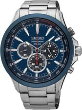 BRAND NEW Gents Seiko Solar Powered Chronograph Blue Dial Watch SSC495P1
