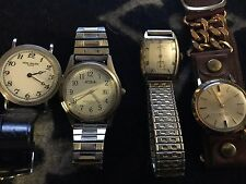 ANTIQUE VINTAGE 14K GOLD LORD ELGIN ART DECO WATCH LOT OF 4 TIMEX ACQUA PATEK