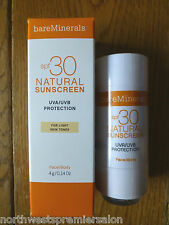 LIGHT. bareMinerals SPF30 Natural Sunscreen 4g. FOR LIGHT SKIN TONES FACE & BODY