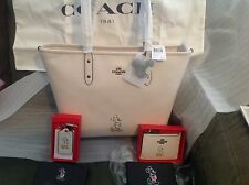DISNEY X COACH MICKEY TOTE + ID CASE + HANG TAG LEATHER LTD ED NWTS BOX SOLD OUT