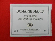 étiquette de vin de pays neuve Domaine Maris Côteaux de Peyriac