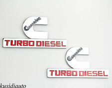 2x Chrome Alloy Cummins Turbo Diesel Emblem Badge Sticker Dodge Ram 1500 2500