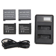 4Pcs 1600mAh AHDBT-401 Li-ion Battery+ LED USB Dual Charger Kit for GoPro Hero 4