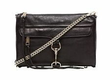 REBECCA MINKOFF $295 LARGE BLACK LEATHER MAC MORNING AFTER CLUTCH CROSSBODY BAG