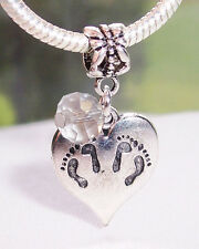 Twins Footprint Heart April Birthstone Dangle Bead for European Charm Bracelets