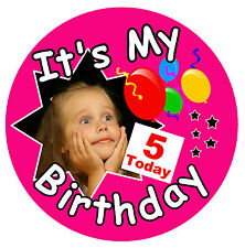 GIRLS BIRTHDAY BIG BADGE (IT'S MY BIRTHDAY) - BIG PERSONALISED, AGE, PHOTO - NEW