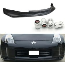 FIT FOR 06-09 350Z N-S PU BLACK ADD-ON FRONT BUMPER LIP SPOILER CHIN + TIRE CAPS