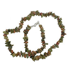 "UNAKITE 18"" CHIP NECKLACE W/ SS CLASP A+"
