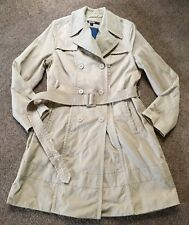 Women's DNKY Trench Coat Lined Mid Length Double Breasted Jacket BEIGE SZ Large