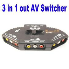3 Way Audio Video AV RCA ADAPTATEUR COUPLEUR Switch Switcher Splitter Cable HG