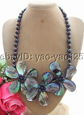 Q101506 Excellent! Pearl&Paua Abalone Shell Necklace