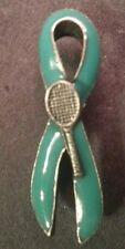 Cervical Cancer Teal Awareness Tac Pin Ribbon Tennis Racquet - NEW