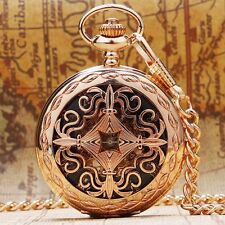 Vintage Rose Golden Hollow Mechanical Pocket Watch Pendant Women Lady Gift Hot