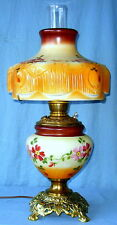 Vintage Aladdin Oil Converted to Electric Lamp Hand Painted Molded Draped Shade
