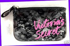 1 Victoria's Secret BLACK LACE & PINK GRAPHIC Makeup Pouch Case Zip-Up Purse