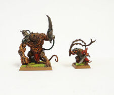 WARHAMMER FANTASY ARMY SKAVEN RAT OGRE AND PACKMASTER  WELL  PAINTED AND BASED