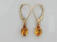 Natural Citrine Dangle Earrings Solid 14kt Yellow Gold