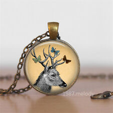 Handmade Vintage deer Cabochon Photo Glass Chain Pendant Necklace