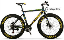 Brand New Cyber Hybird XC76 flat bar 21 sp 70MM wheel road bike Black&Yellow