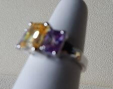 STERLING SILVER COCKTAIL 3 STONE RING SIZE 7 CITRINE CENTER W/ AMYTHIST  SIDES