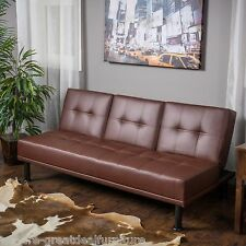 Modern Brown Tufted PU Leather 3-Seater Click Clack Futon Sofa Bed w/ Cup Holder
