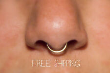 FREE SHIPPING! Fake Septum Ring 14k Gold, 18 gauge Fake Nose Ring, Piercing