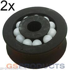 2x 27mm plastique noir poulie roue poulie avec roulements à billes gratuit p + p