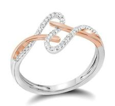 Pretty Design! 100% 10K White Gold & Rose Gold Accebt Diamond Twist Ring .10ct