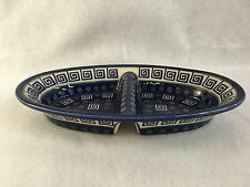 """Blue & Green Sectioned Serving Dish Made in Boleslawiec, Poland 11-1/2"""" x 7"""""""