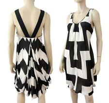 GIORGIO ARMANI Geometric-Printed Silk Draped Bubble Dress 40/6 ~ RIBBON STRAPS!