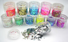 12 POTS  HEXAGON SHAPE NAIL ART CRAFT NAILS 10g Each PINK GREEN GOLD RED BLUE