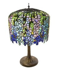 """30""""Stained Glass Tiffany Inspired Grand Wisteria Table Lamp with Tree Trunk Base"""