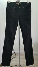 Women Ladies Forever21 Black Distressed Destroyed Skinny Low Rise Jeans Size 26