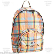 O'NEILL BLUE PINK MULTI COLOUR CHECKED WATERFALL BACKPACK RUCKSACK GIRLS LADIES
