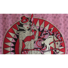 Funny Carousel Horse Pink Shower Curtain Rockabilly Pin Up Lady Tattooed 1pc