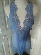LA PERLA chemise Top Tunic, SHEER sexy LACE, Periwinkle Blue open back Size 4
