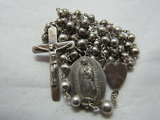 † SCARCE VINTAGE 985 / 950 STERLING GUADALUPE MEDAL & ROSARY ROSARIO NECKLACE †