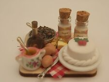 Dolls house food: Making Christmas cake prep board   -By Fran
