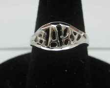 "SIZE 5, 14KT WHITE GOLD EP ""BABY"" WORD, BABY,TOE, PINKIE, PROMISE RING"
