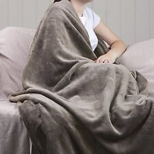 1.4 Tog Heat Holder Thermal Soft Fleece Blanket in Moon Rock Beige 180cm x 200cm