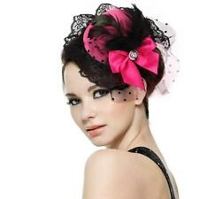 Feather Bow Hair Clip Lace Pink Mini Top Hat Party Cosplay Goth New
