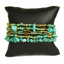 Shamballa Bangle BRACELET Cuff TURQUOISE GOLD Czech Glass Bead Boho Hippie