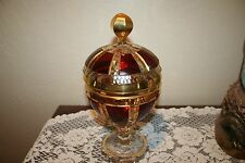 Rare Vintage Moser Cabochon Ruby Encrusted Gold Crystal Large Lidded Goblet