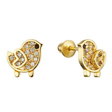 14k Gold Plated Children Chick Screw Back Baby Girls Earrings w Silver Post