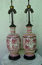 TABLE LAMPS - MUTUAL SUNSET LAMP CO - #3622- PINK, BEIGE,BROWN - CERAMIC&BRASS