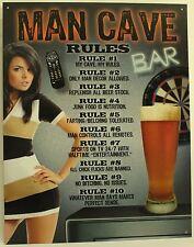 MAN CAVE RULES METAL SIGN Bar Den Garage Decoration Comic NEW Vintage Retro USA
