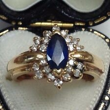 Estate Marquise Blue Sapphire & Diamond Halo Ring 14K Yellow Gold Size 5