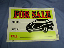 "Car For Sale Signs Year/Model/Phone #  Plastic Sign 10"" x 14"" Made In U.S.A."
