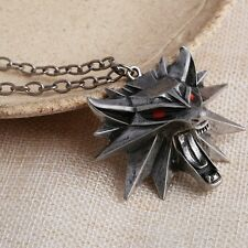 NEW OFFICIAL The Witcher 3 Wild Hunt RED EYES Medallion/Necklace+BlackPouch+Card